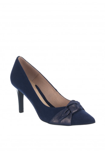 Emis Suede Knot Court Shoes, Navy