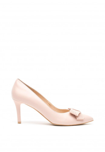 Emis Leather Patent Bow Pointed Toe Court Shoes, Pink