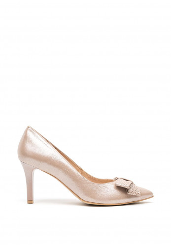 Emis Leather Shimmering Bow Pointed Toe Court Shoes, Rose