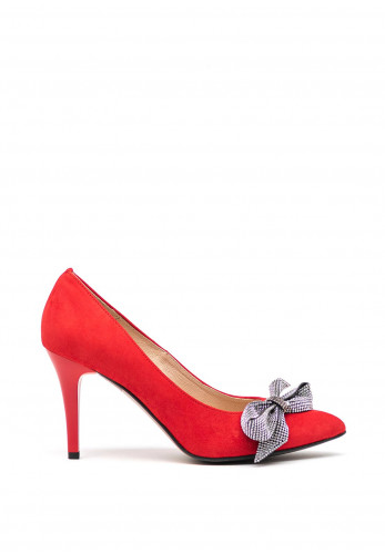 Emis Leather Suede Diamante Bow Pointed Toe High Heel Shoes, Red