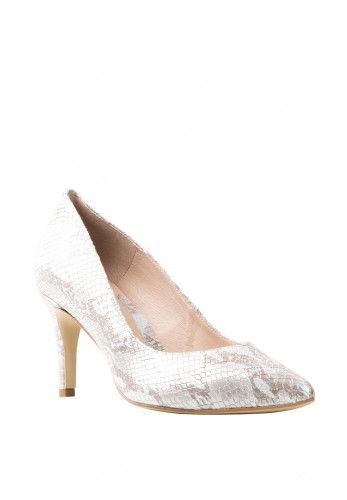 Emis Leather Snake Print Court Shoes