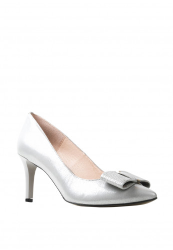 Emis Leather Shimmer Bow Court Shoes, Silver