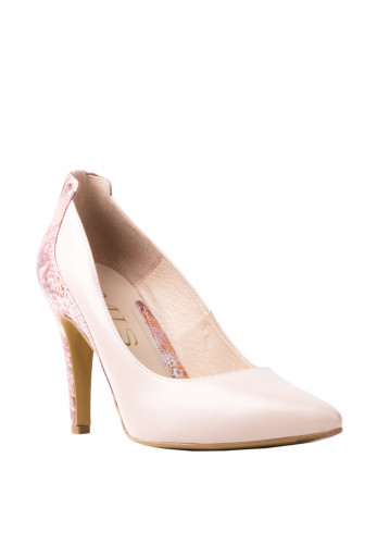 Emis Leather Snake Print Court Shoes, Pink