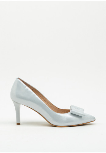 Emis Shimmer Bow Pointed Toe Court Shoe, White Silver