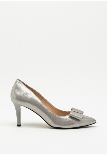 Emis Shimmer Bow Pointed Toe Court Shoe, Silver