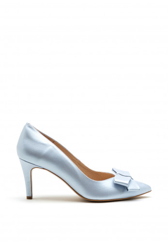 Emis Leather Bow Pointed Toe Court Shoes, Ice Blue