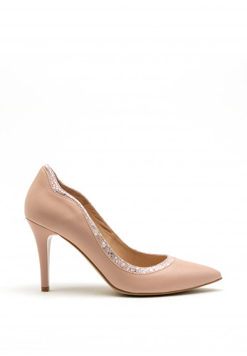 Emis Leather Contrast Trim Court Shoes, Pink