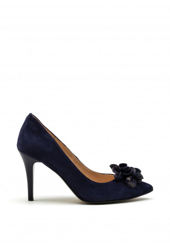 Emis Suede Fabric Flower Court Shoes, Navy