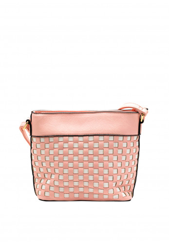 Zen Collection Faux Leather Woven Bucket Bag, Pink