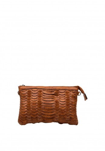 Zen Collection Faux Leather Textured Woven Crossbody Bag, Brown