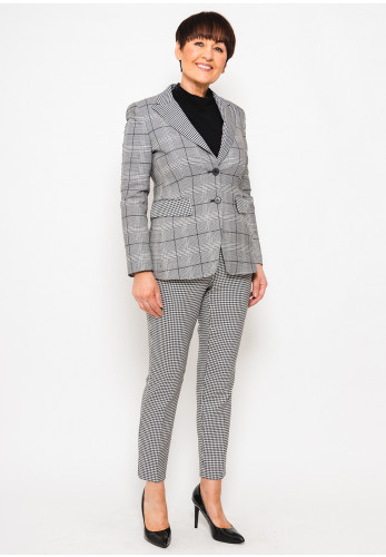 Marella Scorpio Checked Blazer Jacket, Black & White