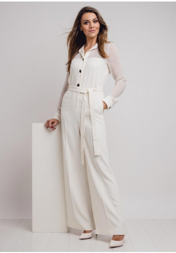 Marella Crepe Wide Leg Jumpsuit, Cream