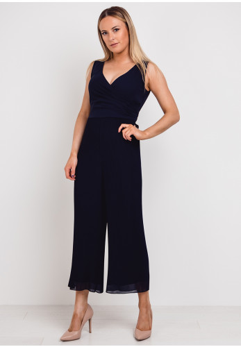 Emme Marella Pleated Cropped Leg Jumpsuit, Navy