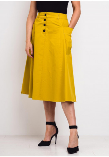 Emme Marella A-Line Midi Skirt, Yellow