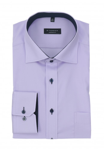 Eterna Purple Contrasting Comfort Fit Shirt
