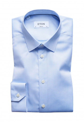 Eton Twill Slim Fit Diamond Shirt, Light Blue