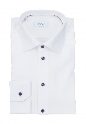 Eton Twill Contemporary Fit Textured Shirt, White