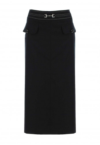 Eugen Klein Wool Blend Midi Skirt, Black