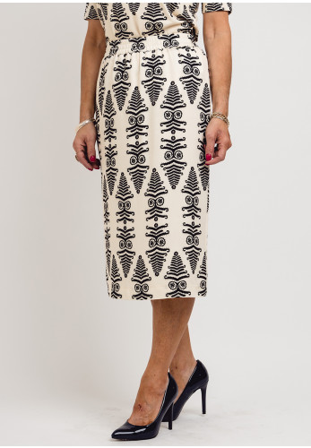 Eugen Klein Tribal Print Midi Skirt, Cream