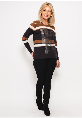 Eugen Klein Metallic Print Stripe Jumper, Brown