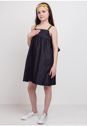 Eve Children Denim Ribbon Striped Dress, Dark Navy