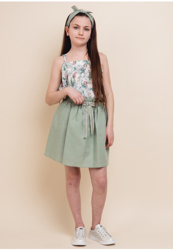 Eve Children Parrot Top and Skirt, Green