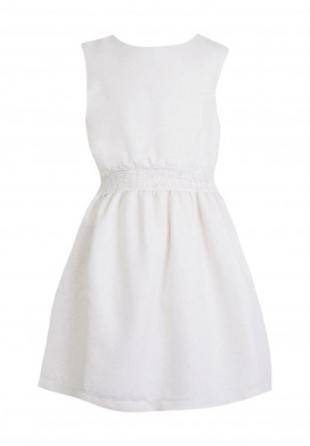 Eve Children Metallic Elastic Skater Dress, Champagne
