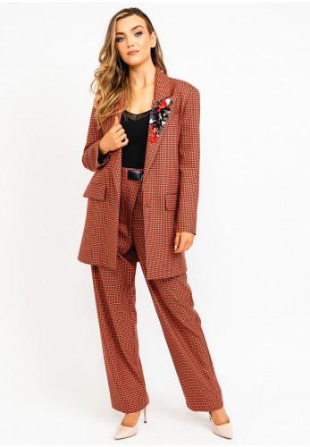 Exquise Statement Lapel Collar Checked Jacket, Red Multi