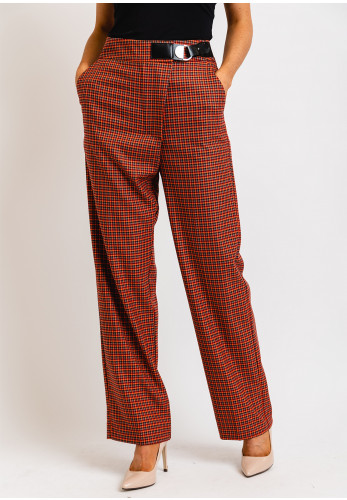 Exquise High Waist Checked Straight Leg Trousers, Red Multi