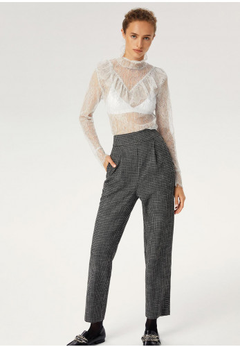 Exquise Houndstooth Print High Waist, Trousers, Black Multi