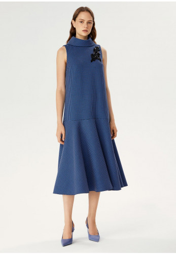 Exquise Houndstooth Print Dropped Waist Dress, Blue & Black