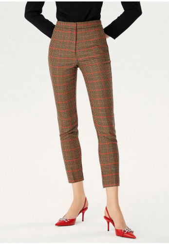 Exquise Houndstooth Print Slim Leg Trousers, Brown Multi