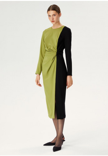 Exquise Colour Block Ruched Waist Mid Dress, Green & Black