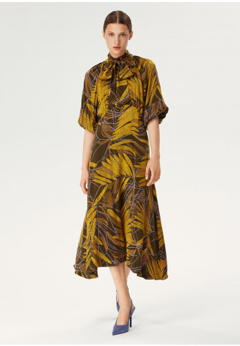 Exquise Tie Neck Leaf Print Mid Dress, Green Multi