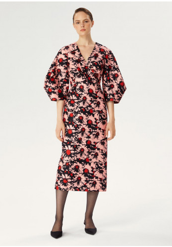 Exquise Volume Sleeve Floral Print Midi Dress, Red Multi