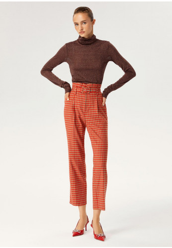 Exquise Checked Paper Bag Style Straight Leg Trousers, Orange Multi