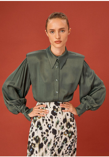 Exquise Padded Shoulder High Shine Blouse, Green