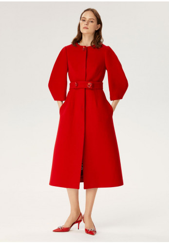 Exquise Puff Sleeved Flared Wool Coat, Red