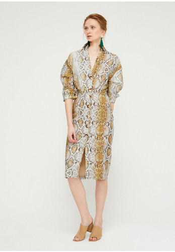 Exquise Snake Button up Linen Dress, Beige