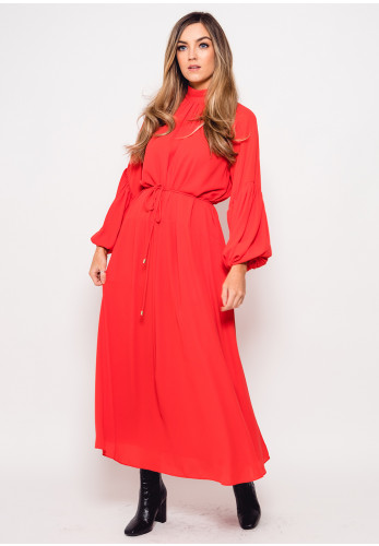 Exquise High Neck Crepe Midi Dress, Coral Red