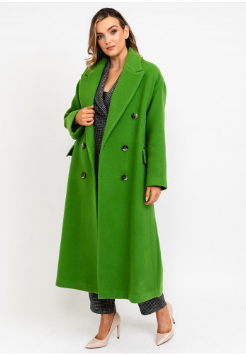 Exquise Longline Double Breasted Wool Rich Coat, Green