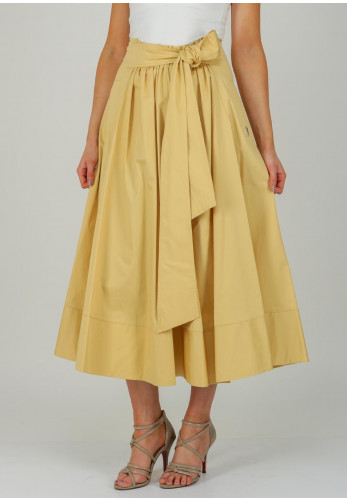 Exquise Flared Cotton Midi Skirt, Pale Yellow