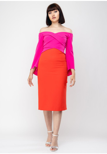 Fallon K Penelope Colour Block Dress, Pink & Red