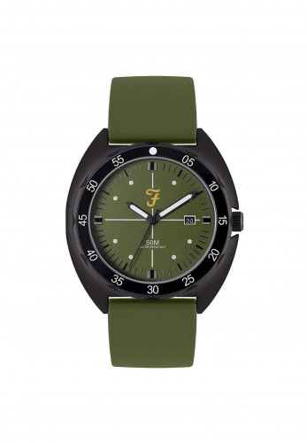 Farah Sport Silicone Strapped Watch, Olive