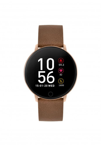 Farah Series 5 Leather Smart Watch, Brown & Rose Gold