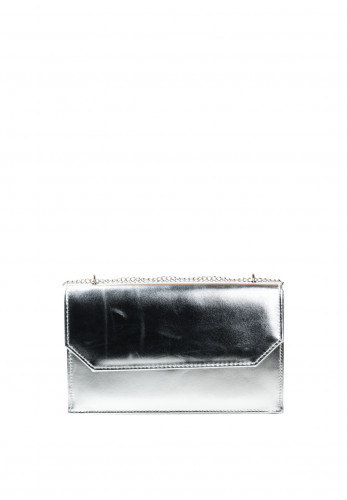 Glamour Clara Metallic Clutch Bag, Silver