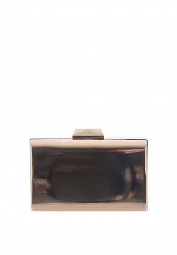 Zen Mini Metallic Box Clutch Bag, Champagne