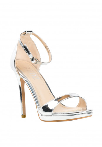 Zen Stiletto Heeled Strap Sandals, Silver