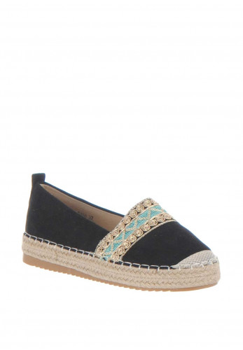 Zen Embellished Espadrille Pumps, Black
