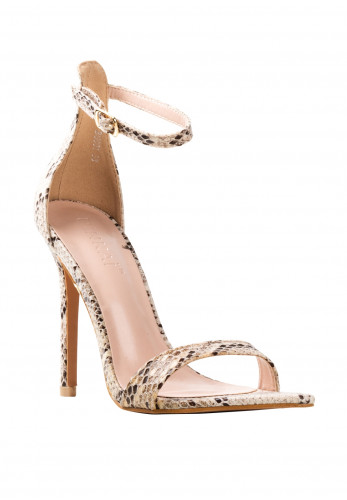 Zen Barely There Stiletto Heeled Sandals, Snake